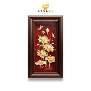 tranh hoa sen dát vàng 1